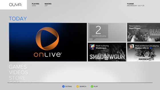 OnLive app on Ouya Dashboard